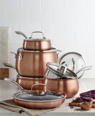 Copper Translucent 11 Piece Cookware Set