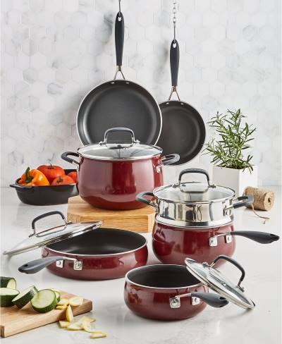 Belgique Nonstick Aluminum Red 12 Piece Cookware Set