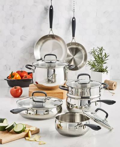 Belgique Stainless Steel 12 Piece Cookware Set, Created for Macy's