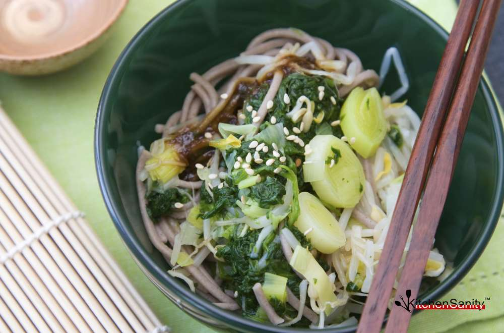 28. Japanese Soba Noodles With Spinach & Leek